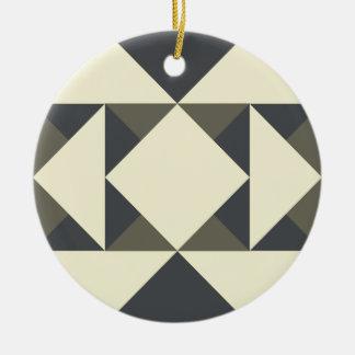 Ornement Rond En Céramique Triangles de noir et d'or