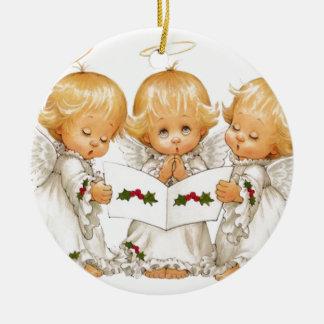 Ornement Rond En Céramique Trois anges de Noël