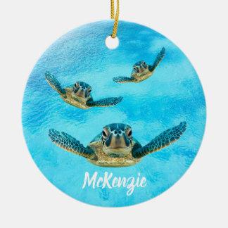 Ornement Rond En Céramique Trois tortues de mer nageant