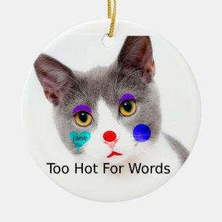 """Ornement Rond En Céramique """"Trop chaud chat pour mots"""" avec le maquillage de"""