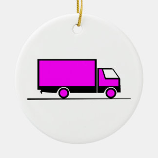 Ornement Rond En Céramique Truck - Camion (06)