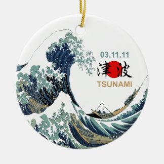 Ornement Rond En Céramique Tsunami 2011 du Japon