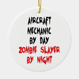 Ornement Rond En Céramique Tueur de zombi de mécanicien d'aviation