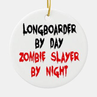 Ornement Rond En Céramique Tueur Longboarder de zombi