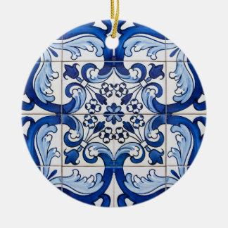 Ornement Rond En Céramique Tuiles vitrées par Portugais