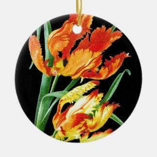 Ornement Rond En Céramique Tulipes de perroquet sur le noir
