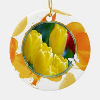 Ornement Rond En Céramique Tulipes jaunes dans le cadre rond coloré