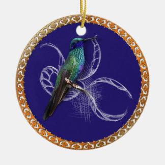 Ornement Rond En Céramique Turquoise verte et bleu avec le colibri pourpre