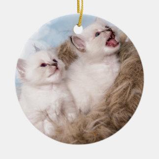 Ornement Rond En Céramique two kittens meow