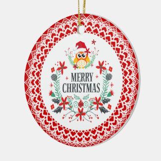 Ornement Rond En Céramique Typographie de Joyeux Noël et guirlande de hibou