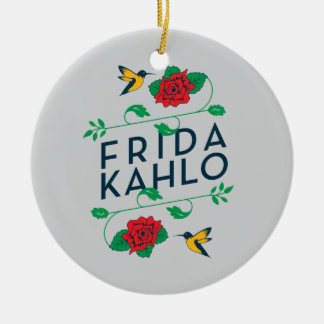 Ornement Rond En Céramique Typographie florale de Frida Kahlo |