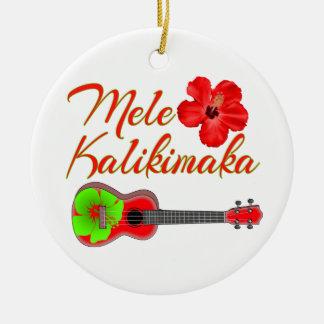Ornement Rond En Céramique Ukulélé de Mele Kalikimaka