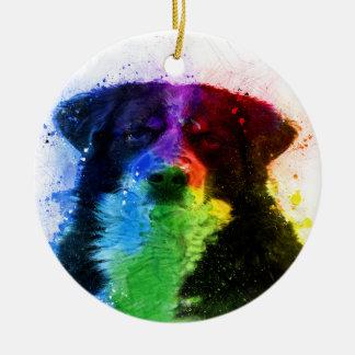 Ornement Rond En Céramique Un plus grand bloc de couleur de chien de montagne