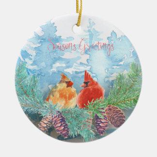 Ornement Rond En Céramique Vacances de Noël - arbres de cardinaux d'aquarelle
