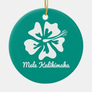 Ornement Rond En Céramique Vacances hawaïennes de Noël de fleur de Mele