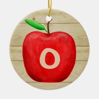 Ornement Rond En Céramique Vacances rouges de monogramme d'Apple
