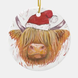 Ornement Rond En Céramique vache des montagnes à roucoulement de Noël avec le