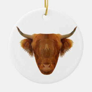 Ornement Rond En Céramique Vache des montagnes écossaise à animal de l'Ecosse