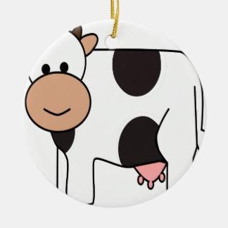 Ornement Rond En Céramique Vache heureuse