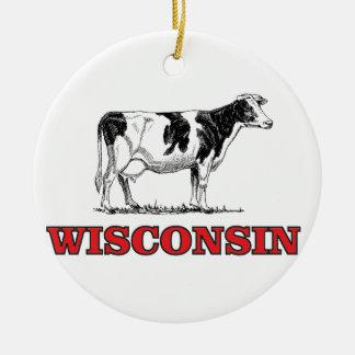 Ornement Rond En Céramique vache rouge au Wisconsin