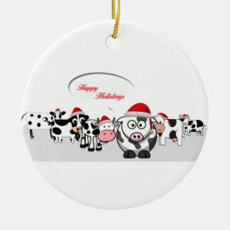 Ornement Rond En Céramique Vaches mignonnes à Noël bonnes fêtes