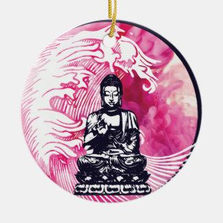 Ornement Rond En Céramique Vague de Bouddha d'ouragan