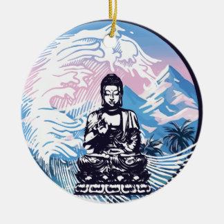 Ornement Rond En Céramique Vague de montagne tropicale de Bouddha