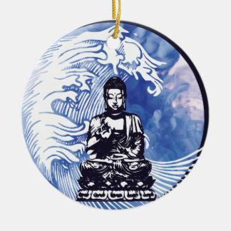 Ornement Rond En Céramique Vague d'eau profonde de Bouddha
