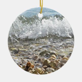 Ornement Rond En Céramique Vagues de mer