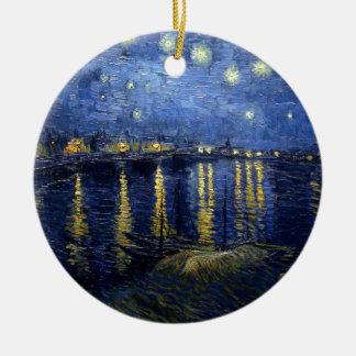 Ornement Rond En Céramique Van Gogh : Nuit étoilée au-dessus du Rhône