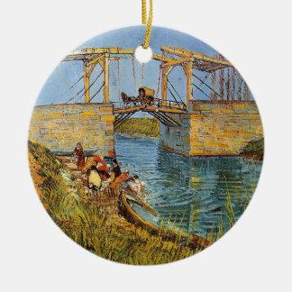 Ornement Rond En Céramique Van Gogh Vincent - le pont de Langlois