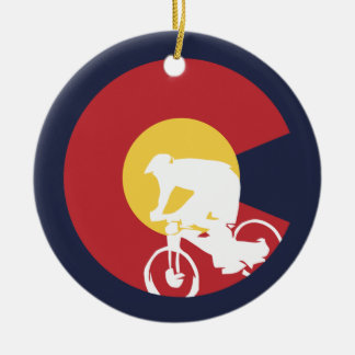 Ornement Rond En Céramique Vélo de montagne le Colorado