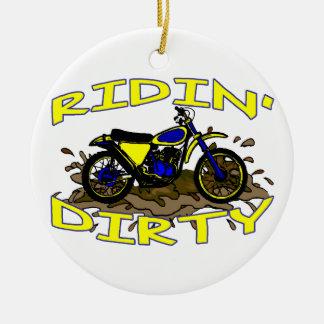 Ornement Rond En Céramique Vélo sale de saleté de Ridin dans la boue