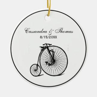 Ornement Rond En Céramique Vélo vintage de bicyclette de vélo sur rail de