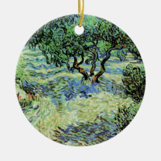 Ornement Rond En Céramique Verger olive de Van Gogh, beaux-arts vintages