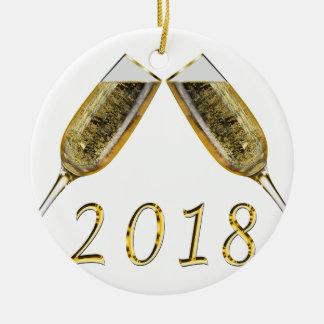 Ornement Rond En Céramique Verres 2018 de Champagne