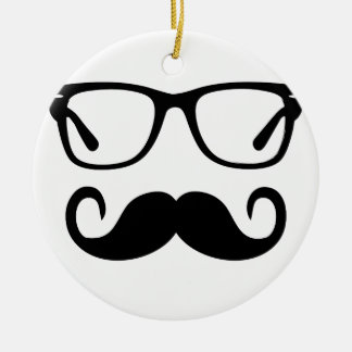 Ornement Rond En Céramique Verres de hippie et moustache de guidon
