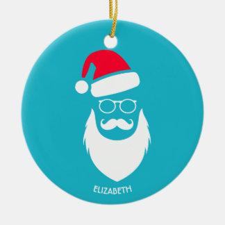 Ornement Rond En Céramique Verres et moustache de barbe de Père Noël Red Hat