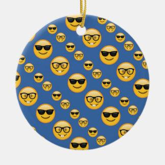 Ornement Rond En Céramique Verres modelés Emojis de bleu