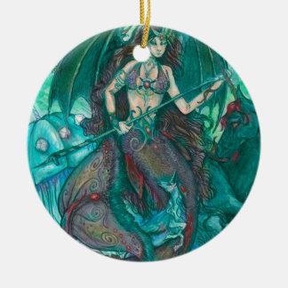 Ornement Rond En Céramique Vert de Teal de mer d'océan de licorne de sirène