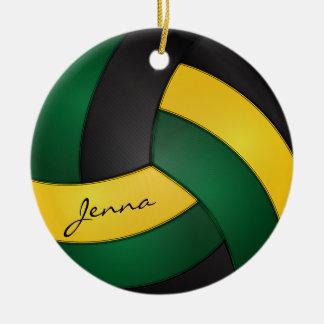 Ornement Rond En Céramique Vert, nom jaune et noir d'or du volleyball |