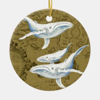 Ornement Rond En Céramique Vert olive de famille de baleines bleues