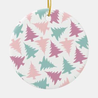 Ornement Rond En Céramique Vert pourpre de rose en pastel de motif d'arbre de