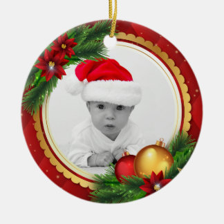 Ornement Rond En Céramique Vert rouge d'or de Noël | d'ornement classique de