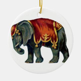 Ornement Rond En Céramique Vieil iIustração d'éléphant de cirque