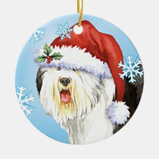 Ornement Rond En Céramique Vieux chien de berger anglais heureux de Howlidays