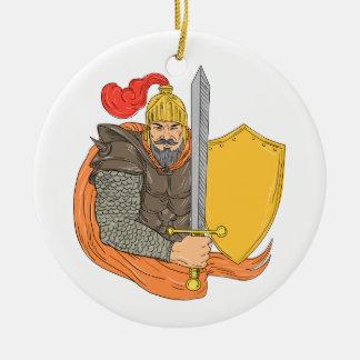 Ornement Rond En Céramique Vieux dessin de bouclier d'épée de chevalier