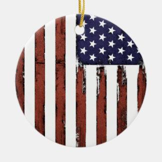 Ornement Rond En Céramique Vieux drapeau américain grunge