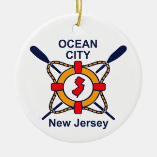 Ornement Rond En Céramique Ville NJ d'océan