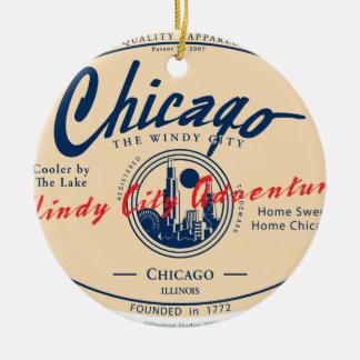 Ornement Rond En Céramique Ville venteuse de Chicago